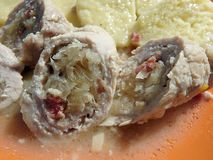Meat rolls with bacon, cabbage and potato dumplings stock photography