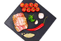 Meat Rolls in Bacon, Chops Wrapped Beef with Mushrooms royalty free stock images