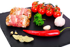 Meat Rolls in Bacon, Chops Wrapped Beef with Mushrooms stock photography