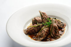 Meat rolls in coffee sauce. Royalty Free Stock Photos