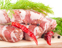 Meat rolls with fennel and red pepper Stock Photos