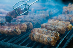 Meat rolls on the grill Royalty Free Stock Image