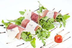 Meat rolls with meat and greens Royalty Free Stock Images