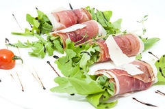 Meat rolls with meat and greens royalty free stock photos