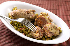 Meat rolls with peas Stock Photo