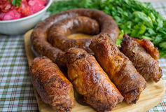 Meat rolls and pork sausage Royalty Free Stock Image