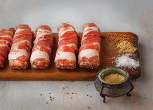 Meat rolls and spices Royalty Free Stock Photos