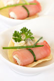 Meat rolls stuffed with cheese. And decorated con parsley Stock Photos