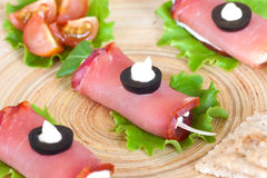 Meat rolls stuffed with cheese Stock Images