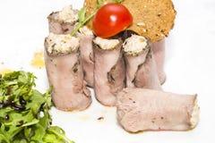 Meat rolls stock photo