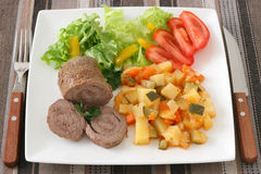 Meat rolls with vegetables Royalty Free Stock Images