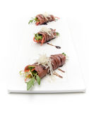 Meat rolls with vegetables and cheese Royalty Free Stock Image