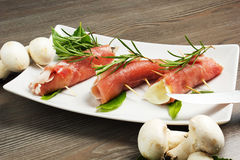 Meat rools. On the table Stock Photography