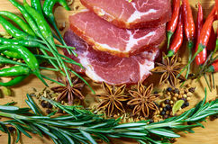 Meat with rosemary and chili peppers Royalty Free Stock Image