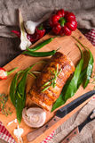 Meat roulade with bear allium filling Stock Photos