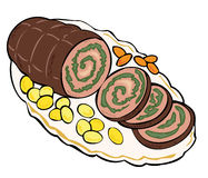 Meat roulade with carrots and potatoes. Stock Images