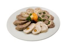 Meat roulade selection. Meat loaf with spinach and vegetables Stock Images