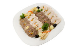 Meat roulade selection. Meat loaf selection on white plate Royalty Free Stock Images