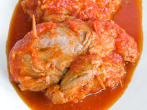 Meat roulade in tomato sauce. Royalty Free Stock Photos