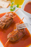 Meat roulade on white dish. Royalty Free Stock Image
