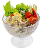 Meat Salad. With some greens on it in a glass bowl on white isolated background Stock Photos
