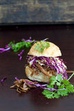 Meat and salad on a bun Royalty Free Stock Photos
