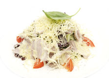Meat salad with cheese stock photo