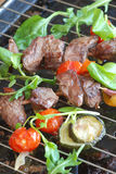 Meat and salad on grill Royalty Free Stock Photo