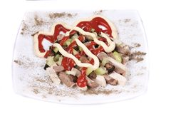 Meat salad with mushrooms. Royalty Free Stock Photography