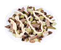 Meat salad with mushrooms. Close up. Royalty Free Stock Images