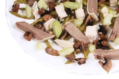 Meat salad with mushrooms. Royalty Free Stock Image