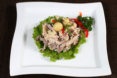 Meat salad with mushrooms and greens Stock Image