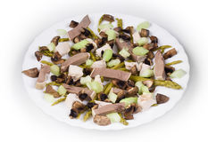 Meat salad with mushrooms. Royalty Free Stock Photos