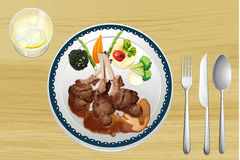 A meat and salad in one dish Royalty Free Stock Photography