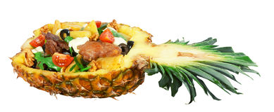 Meat salad in pinapple Royalty Free Stock Image