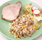 Meat with salad and rice Royalty Free Stock Images