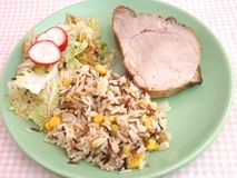 Meat with salad and rice Stock Photo