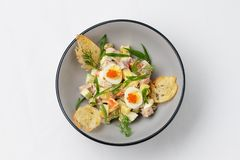 Salad with quail eggs, caviar and fresh herbs royalty free stock images