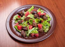 Meat salad with vegetable and sesame. Royalty Free Stock Photography