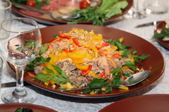 Meat salad with vegetables Royalty Free Stock Photos