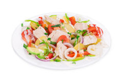 Meat salad with vegetables. Stock Images
