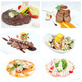 Meat and salads Royalty Free Stock Photo