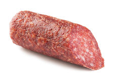 Meat Salami. Om a white isolated background Royalty Free Stock Image
