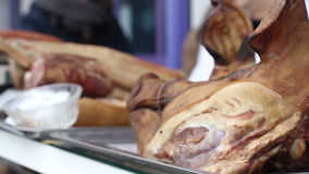 Meat for Sale at Butchery. Raw pork meat for sale at a butchery stock video footage