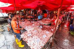 Meat sale at Khlong Thoey market. Meat for sale at the traditional Khlong Thoey market in the slum area of Bangkok Royalty Free Stock Photography