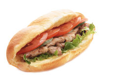 Meat sandwich. Meat submarine sandwich isolated on white background Stock Photos