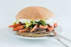 Meat sandwich with tomato, green beans, chili and mayonnaise with white background. Restaurant pork cheese bread burger bap bbq submarine wood closeup onions stock photo