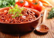 Meat sauce in the bowl Stock Photos