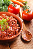 Meat sauce in the bowl Royalty Free Stock Photos