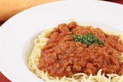 Meat sauce pasta Royalty Free Stock Photo